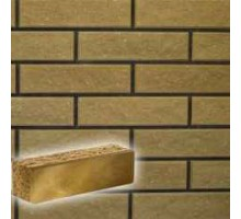 Облицовочный кирпич Литос | Узкий полнотелый | Колотый тычковый | желтый